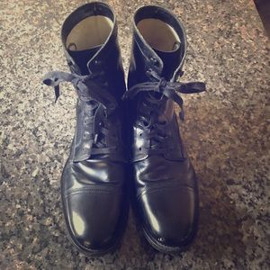 Patent Black leather military boots